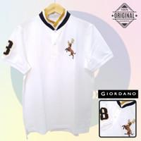Size L-LD104 Giordano Original POLO PRIA KAOS KERAH Cowo Warna Putih