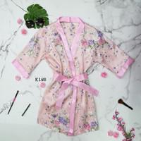 Set Baju Kimono Tidur Seksi Jepang Sexy Lingerie Lace Wanita Pink KL28