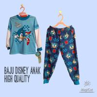 Setelan Anak Laki Laki Karakter Super Sonic Baju Tidur Panjang Anak