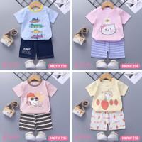Baju Setelan Anak Bayi Tangan Pendek Import Lucu Laki Perempuan