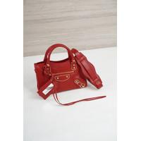 Balenciaga Mini City Metallic Edge 24cm Rouge Groiselle