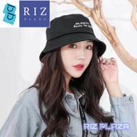 Topi Bucket Topi Wanita Korea Bolak Balik Lipat Motif Bordir - BLACK