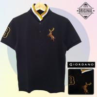 Size S-LD94 Giordano Original POLO SHIRT PRIA KAOS KERAH Cowo Hitam