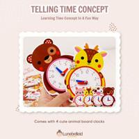 Wooden Animal Telling Time Concept Mainan Jam Kayu