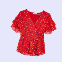 [CA] MADEWELL Wrap Peplum Red Floral - Baju Atasan Wanita Branded