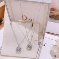Kalung Silver Wanita Permata Solitaire Kotak Full Diamond