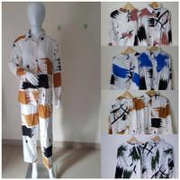 baju tidur wanita piyama daily set tie dye bahan rayon lengan panjang