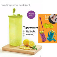 Botol minum tupperware slim line 2ltr free tas
