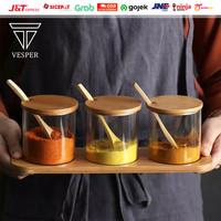 seasoning jar bamboo lid 3pcs set / toples kaca tempat bumbu dapur
