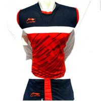 Baju stelan pria/wanita kaos badminton kaos bulutangkis kaos olahraga - Merah, M
