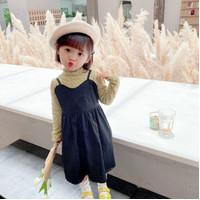 Cute Kids Set Neck Shirt + Overal Dress