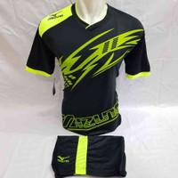 Baju olahraga Jersey Futsal Volly Sepakbola Motif Mz LenganTerbaru - Hitam Hijau, M