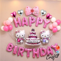 [PAKET] BIRTHDAY Set HELLO KITTY WALKING Dekorasi Backdrop Ultah