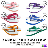 Sandal Jepit Sun Swallow Ukuran 9 9.5 10 10.5 Pria Wanita Sendal ORI - Biru, 10