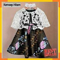 Dress cape Kelly batik kids 3-4th / Baju Kebaya Pesta Anak Moderen