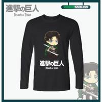 Kaos Baju Anime Attack On Titan Levi Ackerman Lengan Panjang
