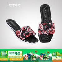 Sandal Slop Karet Wanita Motif BATIK SISTERS - Sandal Selop Wanita - Hitam, 36