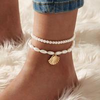 gelang kaki mutiara shell pearl anklet jge095