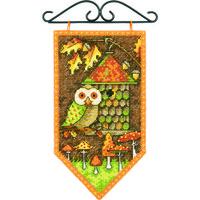 Paket Kristik Dimensions Original 72-74135 Fall Banner Musim Gugur Owl