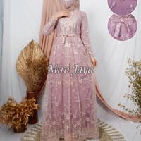 Gamis Tile Brukat Muslim Baju Kebaya Maxi Dress Busui Wanita Moder