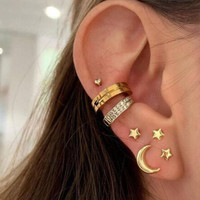 anting set 7 pcs star moon clip set earrings jan249
