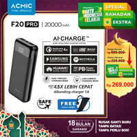 ACMIC F20PRO 20000mAh AiCharge Digital Power Bank (QC4 + PD + VOOC) - F20Pro No Kabel