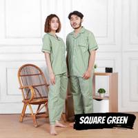Piyama Couple Baju Tidur pasangan Pria Wanita keluarga SQUARE GREEN