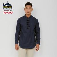 Pakaian Muslim Pria Neils - Damascus - Baju Koko Tangan Panjang Qurta - Navy, M