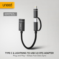 UNEED OTG 2in1 Type C & iPhone Lightning to USB 3.0 Adapter - UAT08ACI