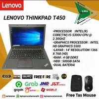 Laptop Lenovo T450 i5 Gen 5 Original Bergaransi - RAM 8GB SSD 256