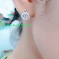 Anting Jepit Bulat Fashion /Perak Asli 925 Lapis Emas Putih