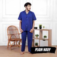 Baju tidur Piyama laki/Pria Dewasa XL Celana Panjang Katun Plain Navy