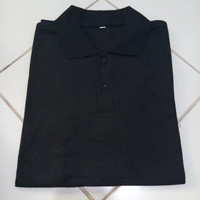 kaos polos murah kaos polo shirt pria wanita baju lacos-warna hitam