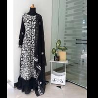 Baju Gamis Sari India Ori Motif Bunga Hitam Black ( Syari / Abaya )