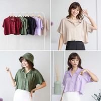 Viscose Crop Top Shirt Baju Atasan Kemeja Rayon Wanita Big Size Jumbo