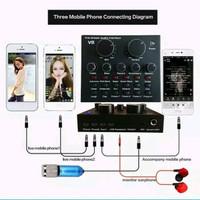 Live Mixer Audio USB External Soundcard Broadcast Microphone V8