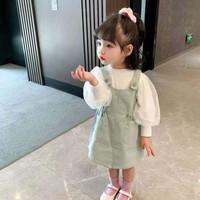 Dress Overall Anak Perempu Kaos Panjang Renda Import Korea Style