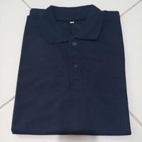 baju kaos polos polo shirt berkerah pria wanita baju lacos - wrna navy - M