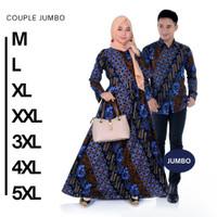 Couple Gamis Batik Jumbo Couple Gamis Batik 5XL Baju Batik Keluarga - Kemeja, M