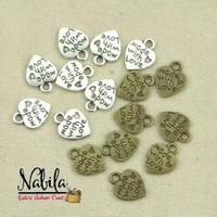 (6pcs) Charm bandul gelang bros motif love handmade bahan kerajinan