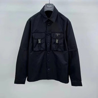 KEMEJA PRADA Re-Nylon DOUBLE POCKET BLACK SHIRT