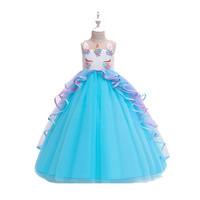 KYO-PD-025 Dress Panjang Unicorn Biru/Baju Pesta Anak Perempuan