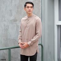 LoopStuff Baju Kurta Gamis Salman Pria Lengan Panjang Warna Coklat