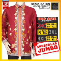 Baju Batik Pria Lengan Panjang JUMBO Big Size 2XL 3XL 4XL