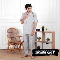 Baju tidur Piyama Pria Dewasa XL Celana Panjang Katun Square Grey