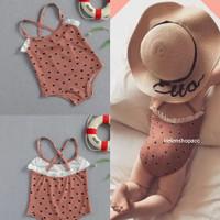 baju renang bayi perempuan 6bln-5thn Coklat bintik import