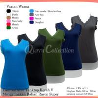 Tanktop Wanita Renda Kerah V Allsize Polos Warna Ready Stok