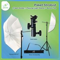Paket Strobist (Flash Holder,1 Payung,Light Stand) + bonus tas
