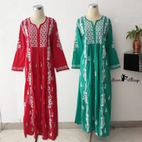Baju Gamis Katun Ori Handmade India Wanita Muslim (Dress / Long Dress) - Red, S
