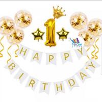Paket Dekorasi Hiasan Balon Ulang Tahun Happy Birthday Tema Gold 10